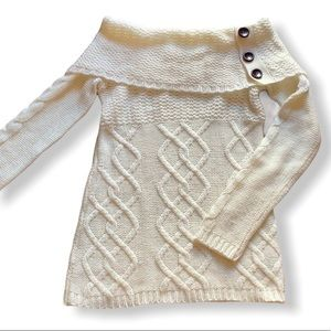Off the shoulder off white knit sweater w buttons